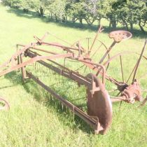 great old  farm hay rake